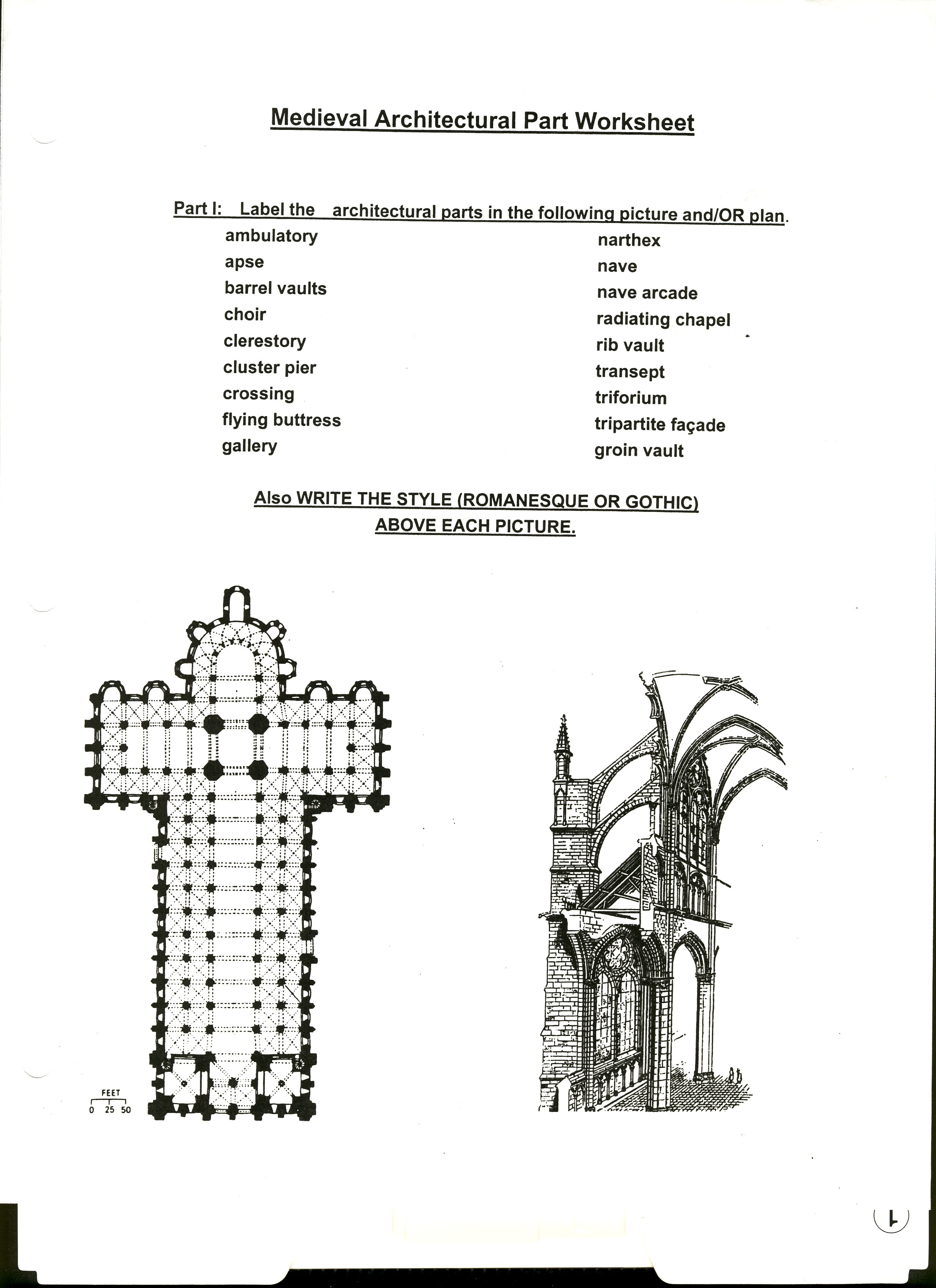 Worksheet To Help You Review The Architectural Parts Of Medieval Romanesque And Gothic Churches